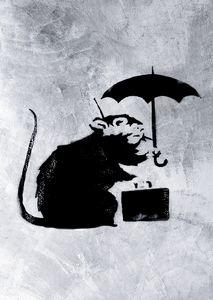 Banksy Art Poster Rat with Umbrella