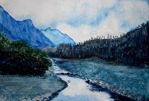 mountain landscape watercolor