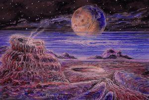 Пейзаж Плутона с Хароном в небе.