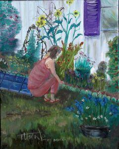 Carol Tending Her Flowers