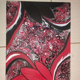 Original abstract marbeled painting