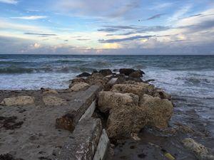 Rock Wall on Beach