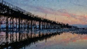Reflecting by the Pier with a Beer - Good Art Direct
