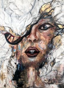 Female White Marble & gold Portrait