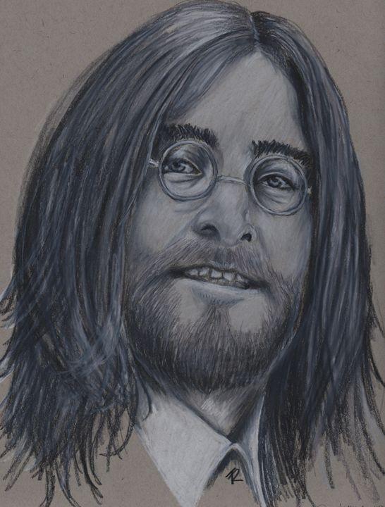 John Lennon - Paws & Portraits by Theresa