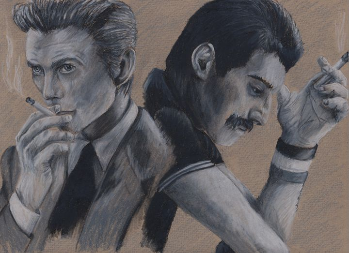 """""""Under Pressure - Bowie and Mercury"""" - Paws & Portraits by Theresa"""