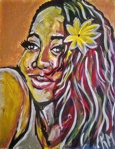 Beautiful Brown skin Sunflower Girl