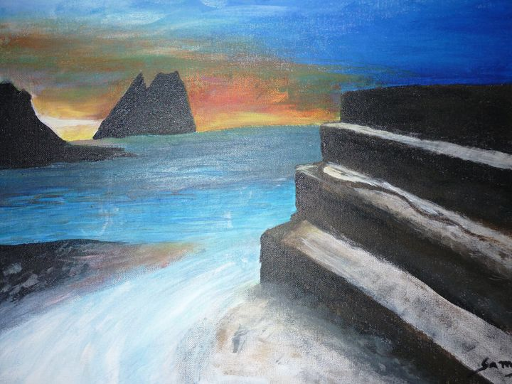 Sunset on the stone stairs - Samy