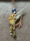 Crystal, Key & Wing Pendant Necklace