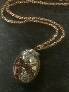 Leaf & Key Collage Necklace