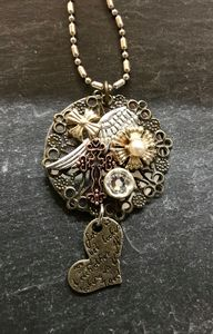 SOLD 'Leap of Faith' CollageNecklace