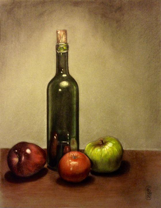 Apples and bottle - Giuseppe Frontoni