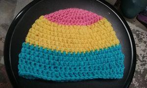 Pan Pride Flag Crochet Beanie