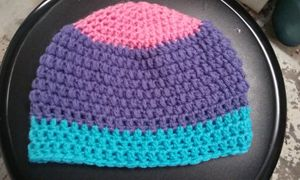 Bi Pride Flag Crochet Beanie- Bright