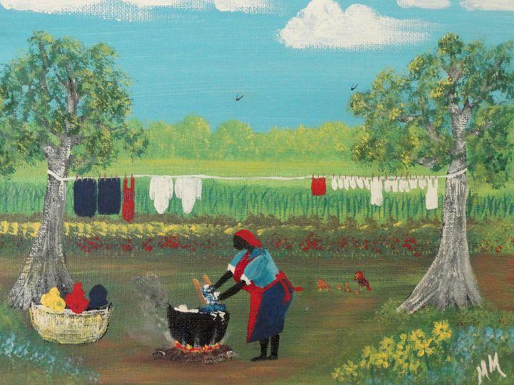 Wash Day 1951 - Wash Pot Folk Art
