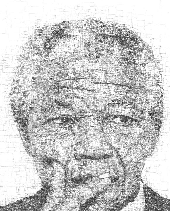 Nelson Mandela Pixelated - Cameron de Bruyn