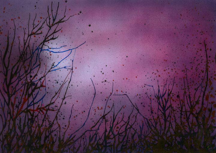 Purple Abstract 'Winter' - Emma Childs Art
