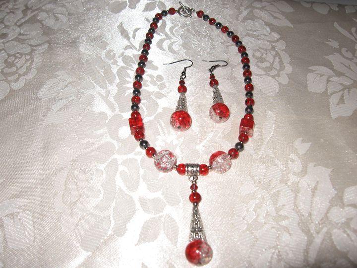 Handmade Red Glass Drop Necklace Set - Bumblebeads Original Handmade Jewellery