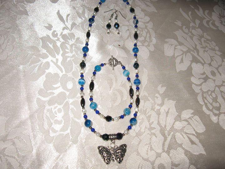 Handmade Blue Agate Butterfly Set - Bumblebeads Original Handmade Jewellery