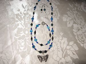 Handmade Blue Agate Butterfly Set