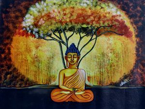 Buddha under ancient tree