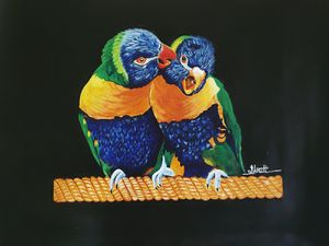 Talkative love birds - Shruti's Hobby Corner