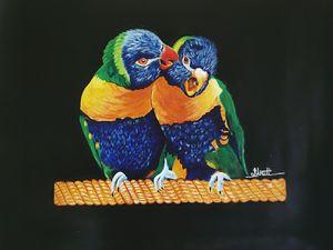 Talkative love birds - Shruti's Hobby Corner