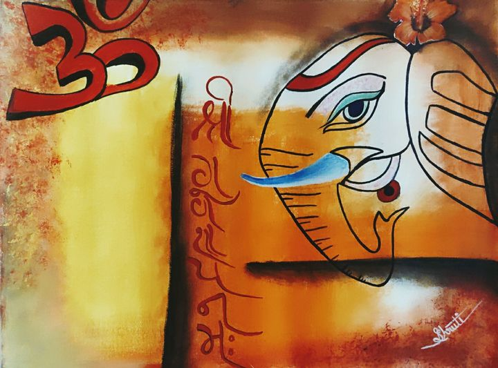 Abstract Lord Ganesha Art - Shruti's Hobby Corner