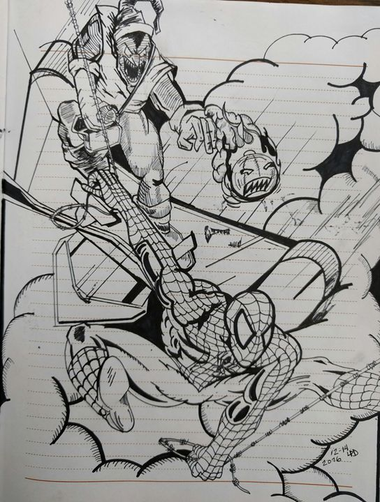Goblin and Spider Man - I love to draw Superheroes