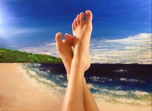 Feet up at the beach