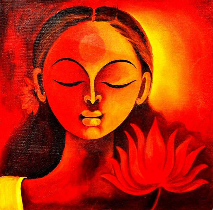 Spiritual Meditation Lady - Artist Anuradha  Sharma