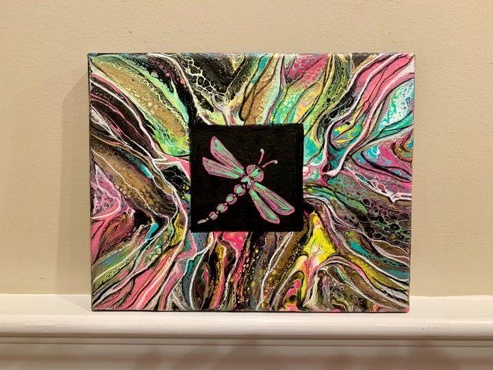 8 x 10 Acrylic/posca pen fluid art - TammyAllenArt
