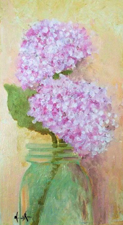 Hydrangea in a mason jar - Mindy Reese