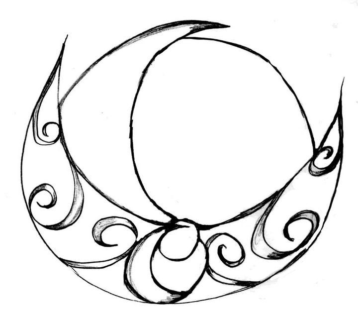 Horned Moon - Random Doodle Art