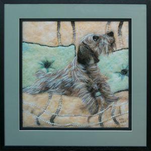 dog on couch - AllyHallArt