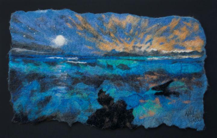Sunrise and moon over the sea - AllyHallArt