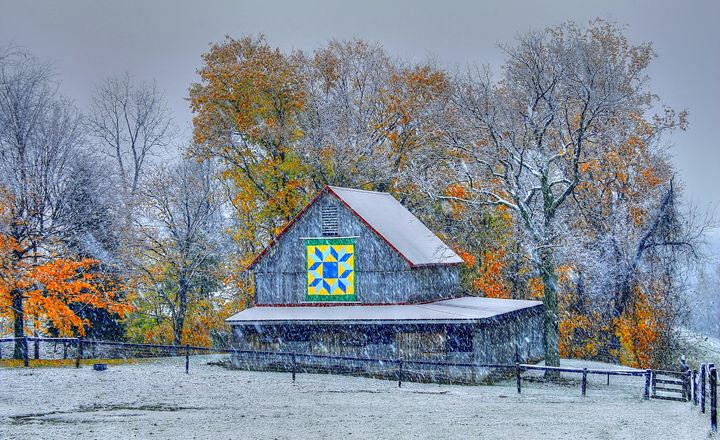 Fall Snow- Barn - Michael Hardy Photography