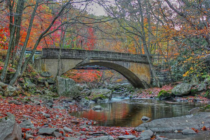 Old bridge in Fall - Michael Hardy Photography
