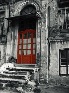 Vintage wooden red door