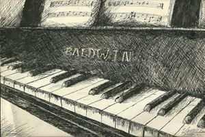 Baldwin Piano Ink Sketch