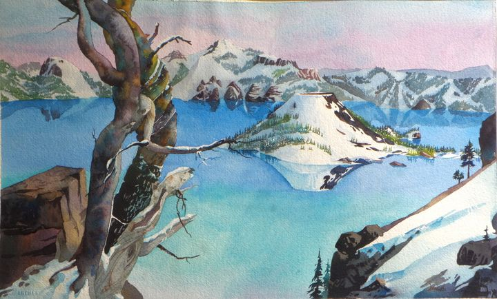 Crater Lake Winter - ArtsyGiftsByTerry