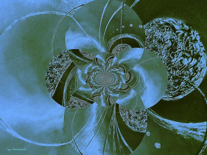 Black And Blue Circular Patterns - Faye Anastasopoulou