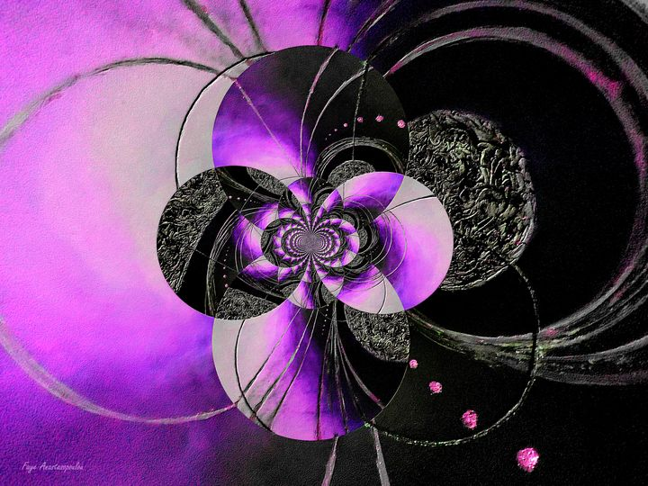 Black And Purple Circular Patterns - Faye Anastasopoulou