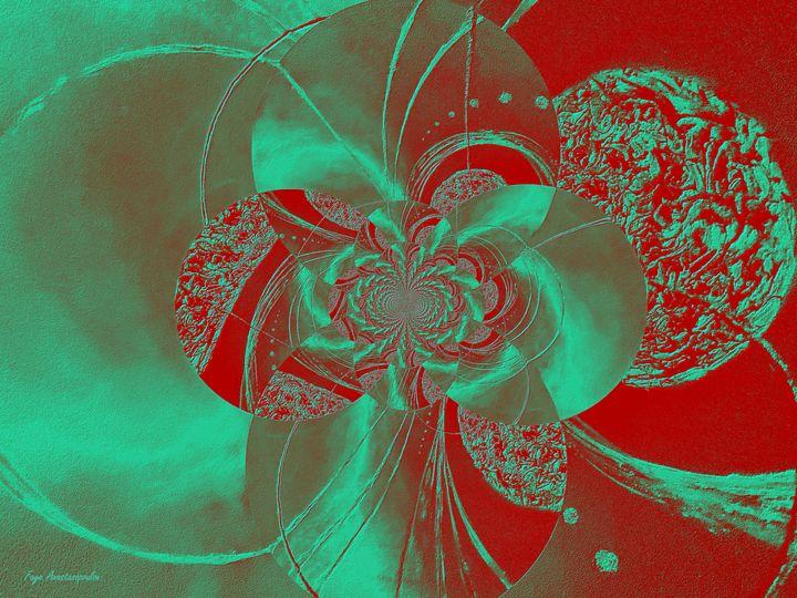 Emerald And Red Circular Patterns - Faye Anastasopoulou