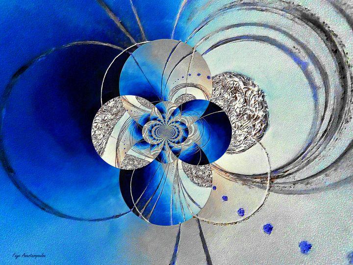 Blue And White Circular Patterns - Faye Anastasopoulou