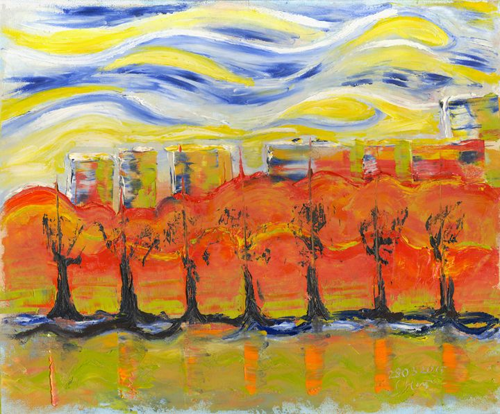 The trees in red. Day 28 March 2015, - Dea Lieotto