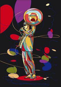 street musician plays brass wind ins
