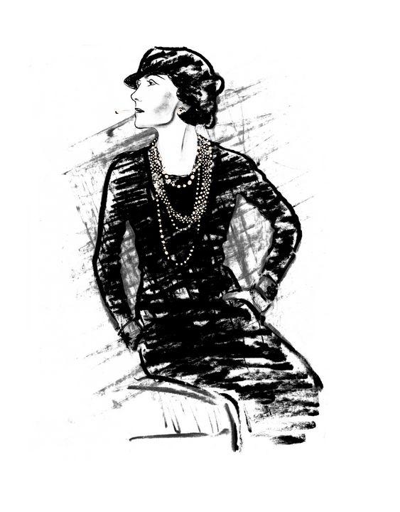 Coco Chanel Fashion Designer Dea Lieotto Drawings Illustration People Figures Fashion Female Artpal