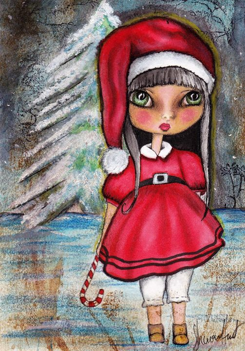 Big eyed Christmas girl - Sharon HArt Designs