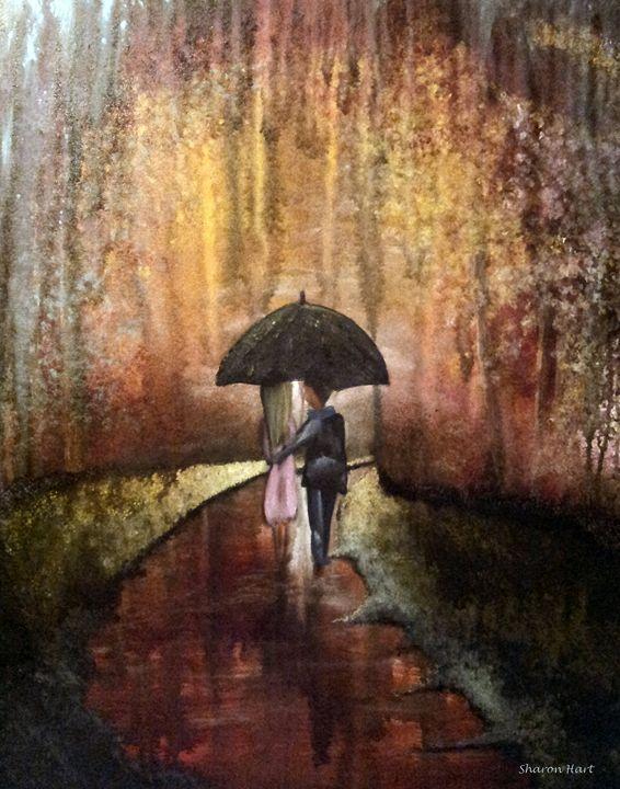 A romantic walk in the rain - Sharon HArt Designs